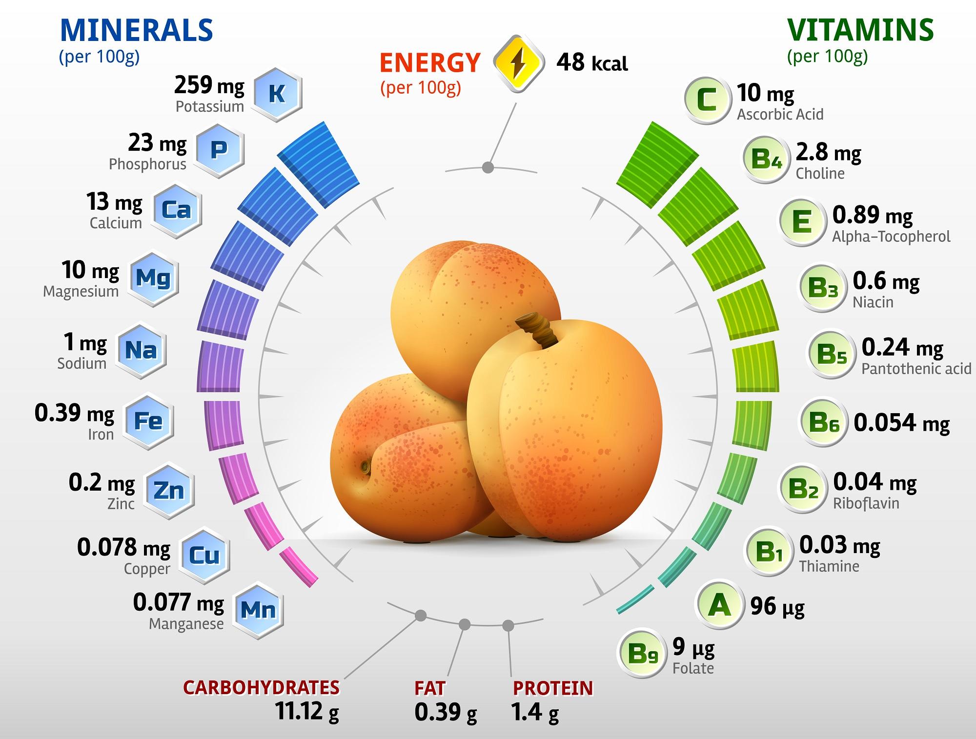 Питательные вещества в абрикосах